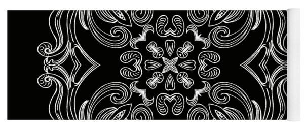 Coffee Flowers 6 Bw Ornate Medallion Yoga Mat