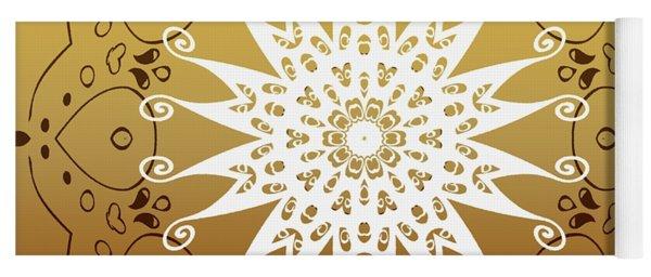 Coffee Flowers 9 Calpyso Ornate Medallion Yoga Mat