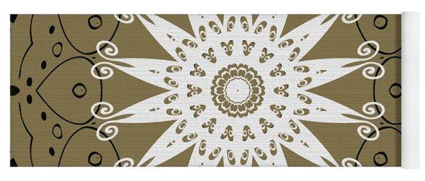 Coffee Flowers 9 Olive Ornate Medallion Yoga Mat