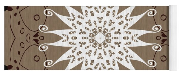 Coffee Flowers 9 Ornate Medallion Yoga Mat
