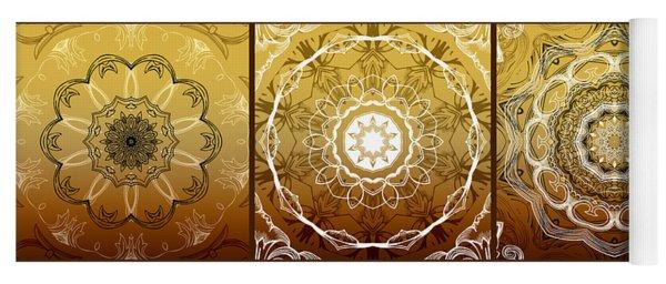 Coffee Flowers Medallion Calypso Triptych 1  Yoga Mat
