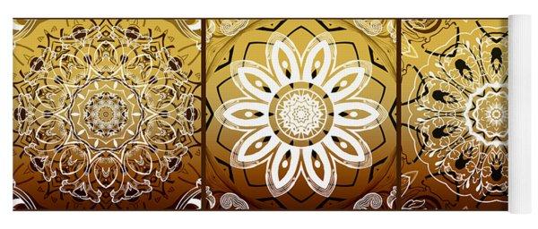 Coffee Flowers Medallion Calypso Triptych 2  Yoga Mat
