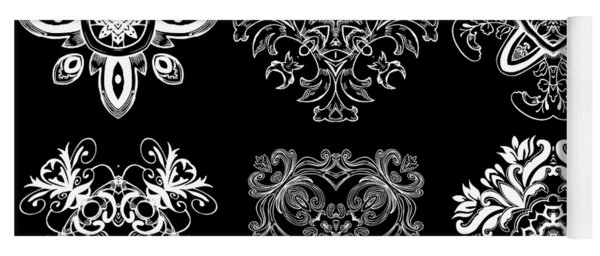 Coffee Flowers Ornate Medallions Bw 6 Peice Collage Yoga Mat
