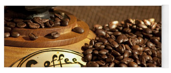 Coffee Grinder With Beans Yoga Mat