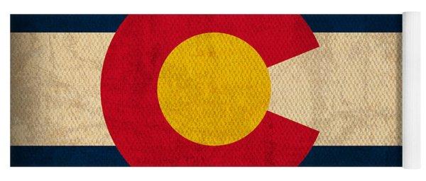 Colorado State Flag Art On Worn Canvas Yoga Mat