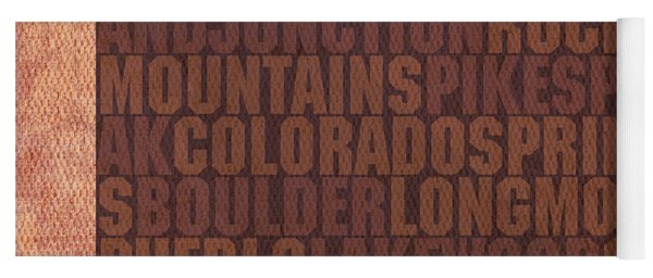 Colorado Word Art State Map On Canvas Yoga Mat