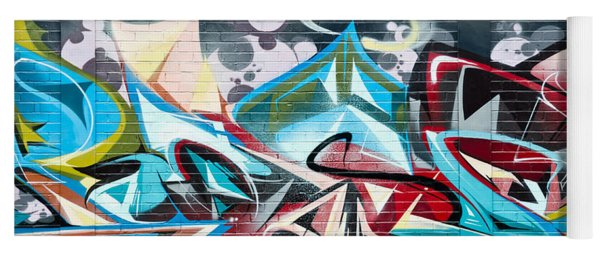 Colorful Abstract Graffiti Art On The Brick Wall Yoga Mat