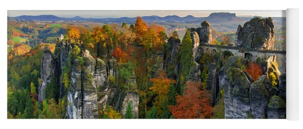 Colorful Bastei Bridge In The Saxon Switzerland Yoga Mat