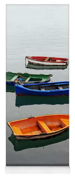 colorful boats on Santurtzi Yoga Mat