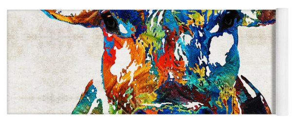 Colorful Cow Art - Mootown - By Sharon Cummings Yoga Mat