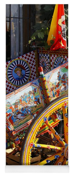 Colorful Decorated Horse Carriage Cefalu Palermo Sicily Italy Yoga Mat