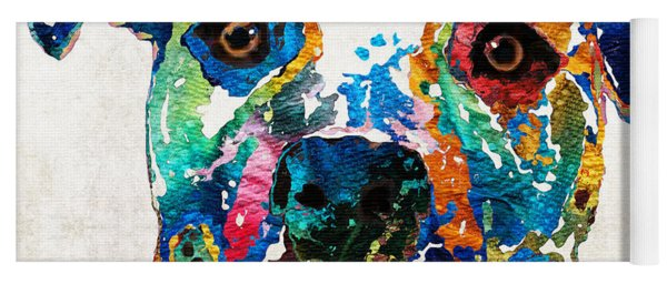 Colorful Dog Pit Bull Art - Happy - By Sharon Cummings Yoga Mat