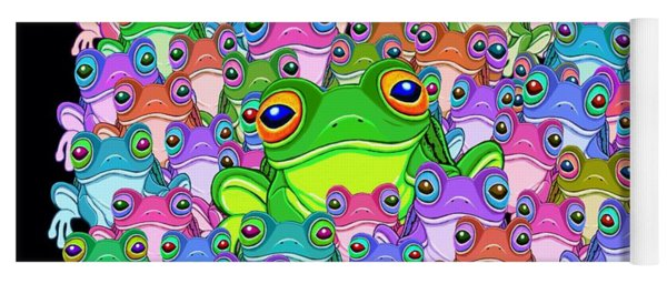Colorful Froggy Family Yoga Mat