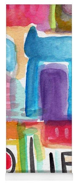 Colorful Life- Abstract Jewish Greeting Card Yoga Mat
