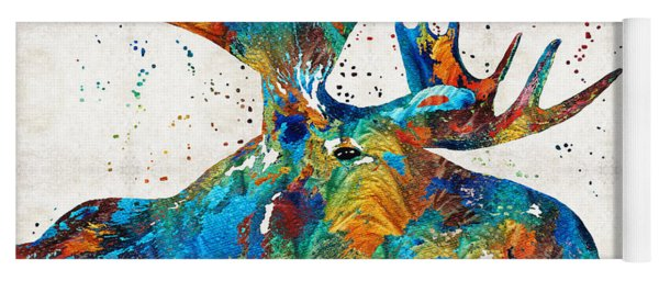 Colorful Moose Art - Confetti - By Sharon Cummings Yoga Mat