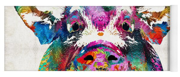 Colorful Pig Art - Squeal Appeal - By Sharon Cummings Yoga Mat