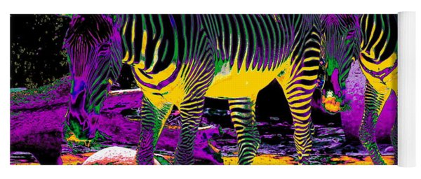 Colourful Zebras  Yoga Mat
