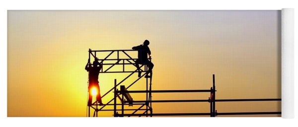 Construction Workers On A Scaffold Yoga Mat