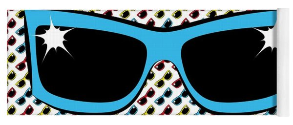 Cool 90's Sunglasses Blue Yoga Mat