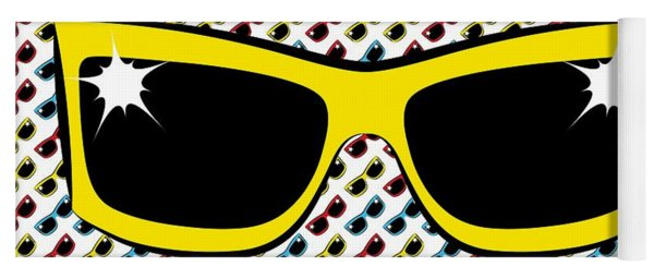Cool 90's Sunglasses Yellow Yoga Mat
