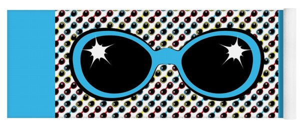 Cool Retro Blue Sunglasses Yoga Mat
