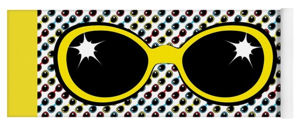Cool Retro Yellow Sunglasses Yoga Mat