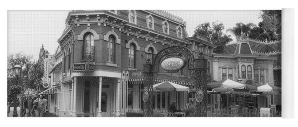 Corner Cafe Main Street Disneyland Bw Yoga Mat
