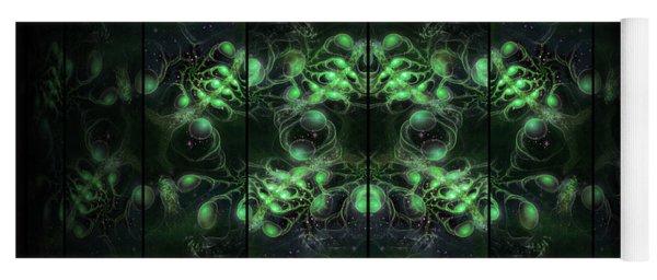Cosmic Alien Eyes Green Yoga Mat