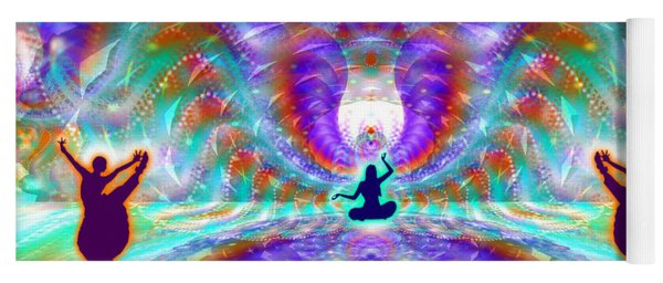 Yoga Mat featuring the digital art Cosmic Spiral Ascension 71 by Derek Gedney