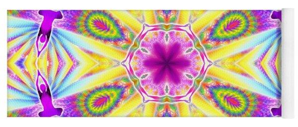 Yoga Mat featuring the digital art Cosmic Spiral Kaleidoscope 06 by Derek Gedney