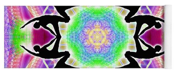 Yoga Mat featuring the digital art Cosmic Spiral Kaleidoscope 08 by Derek Gedney