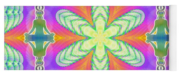Yoga Mat featuring the digital art Cosmic Spiral Kaleidoscope 18 by Derek Gedney