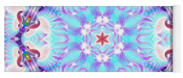 Yoga Mat featuring the digital art Cosmic Spiral Kaleidoscope 32 by Derek Gedney