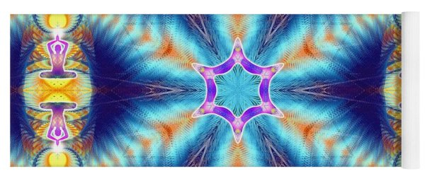 Yoga Mat featuring the digital art Cosmic Spiral Kaleidoscope 36 by Derek Gedney