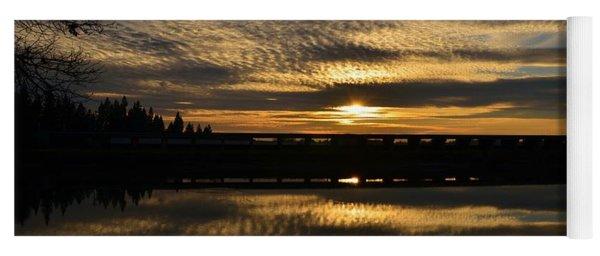 Cotton Ball Clouds Sunset Yoga Mat