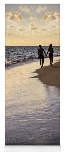 Couple Walking On A Beach Yoga Mat