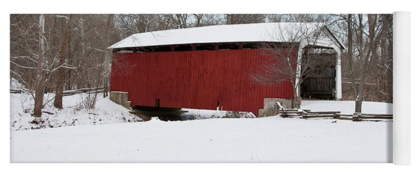 Covered Bridge In Snow Covered Forest Yoga Mat