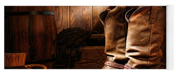 Cowboy Boots In A Ranch Barn Yoga Mat