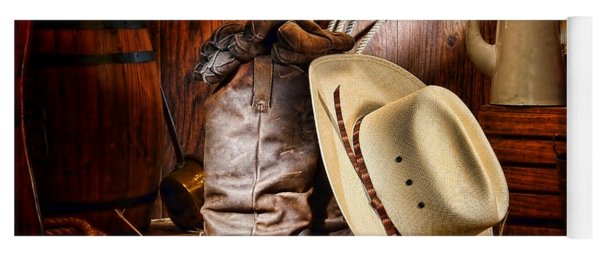 Yoga Mat featuring the photograph Cowboy Gear by Olivier Le Queinec