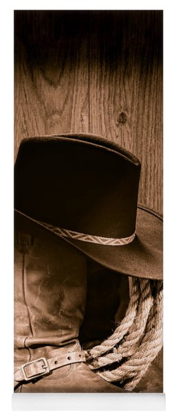 Cowboy Hat And Boots Yoga Mat