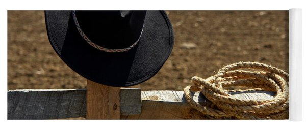 Cowboy Hat And Rope On Fence Yoga Mat