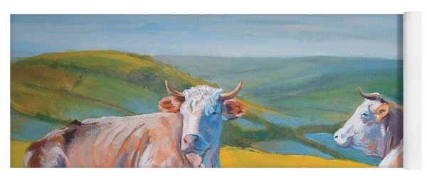 Cows Lying Down Painting Yoga Mat