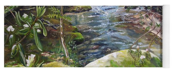 Yoga Mat featuring the painting Creek -  Beyond The Rock - Mountaintown Creek  by Jan Dappen