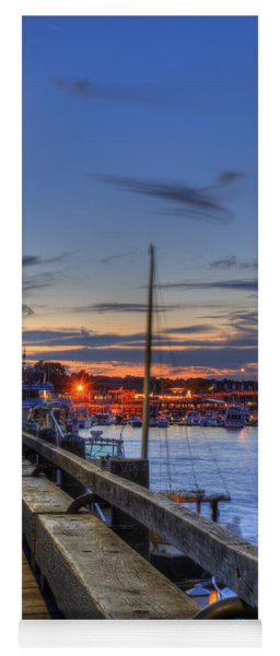 Crescent Moon Over Newburyport Harbor Yoga Mat