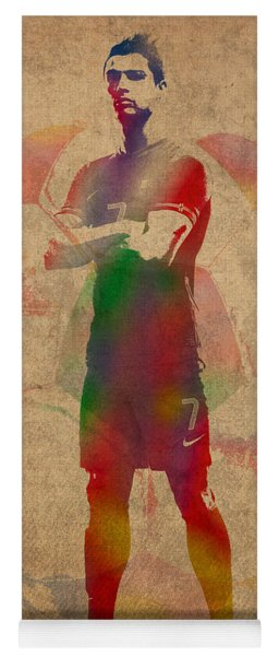 Cristiano Ronaldo Soccer Football Player Portugal Real Madrid Watercolor Painting On Worn Canvas Yoga Mat