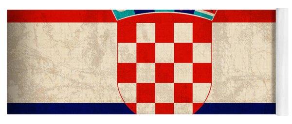 Croatia Flag Vintage Distressed Finish Yoga Mat