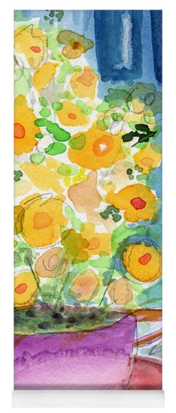 Cup Of Yellow Flowers- Abstract Floral Painting Yoga Mat
