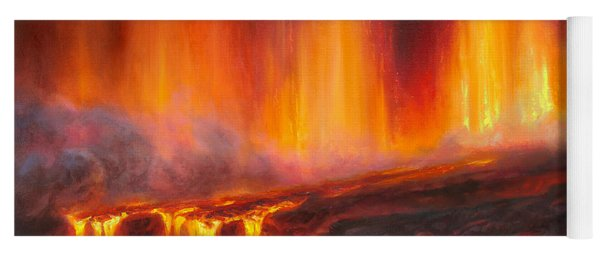 Erupting Kilauea Volcano On The Big Island Of Hawaii - Lava Curtain Yoga Mat
