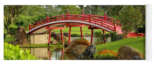 Curved Red Japanese Bridge And Stream Chinese Gardens Singapore Yoga Mat