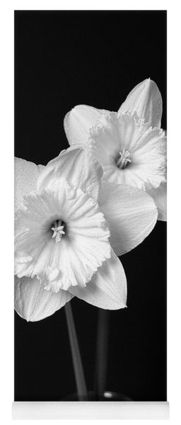 Daffodil Flowers Black And White Yoga Mat
